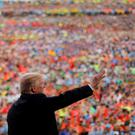 U.S. President Donald Trump waves after delivering remarks at the 2017 National Scout Jamboree in Summit Bechtel National Scout Reserve, West Virginia , U.S., July 24, 2017. REUTERS/Carlos Barria