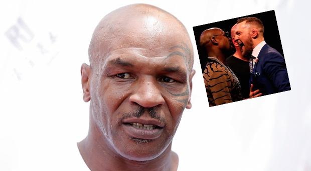 Mike Tyson and (inset) McGregor and Mayweather