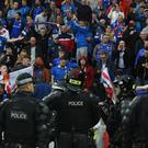Linfield fans during the game against Celtic. Getty