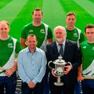 Wexford hurling boss Davy Fitzgerald alongside sponsor Martin Donnelly with (from left) Kevin Moran of Waterford, former Tipperary goalkeeper Brendan Cummins, Anthony Nash of Cork and Clare's James McInerney at Croke Park yesterday for the launch of the M Donnelly Poc Fada Finals. Photo by Sam Barnes/Sportsfile