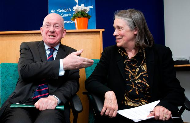 Justice Minister Charlie Flanagan and Chief Justice Susan Denham at the launch of the annual report of the Courts Service at Phoenix House in Dublin yesterday. Photo: Gareth Chaney