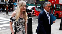 Charlie Gard's mother Connie Yates and her lawyer arrive at the High Court in London for a hearing on her son's end-of-life care. Photo: Reuters