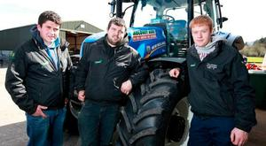 Pallaskenry Agricultural College students John Gormley, from Cloonfad, Co Roscommon, with Jamie Fenton, Fermoy, and Damien Jennings, Bandon, both Co Cork, at the Farm Safety Open Day on Thomas Moloney's farm near Clogheen, Co Tipperary. Photo: Frank McGrath