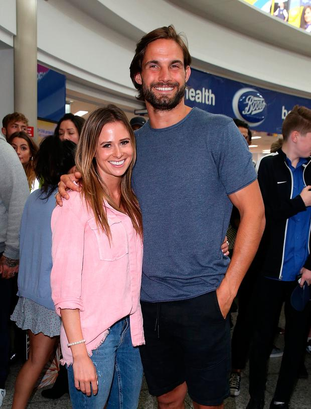 Camilla Thurlow and Jamie Jewitt from Love Island arrive at Stanstead airport on July 25, 2017 in London, England. (Photo by DMC/GC Images)