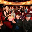 25/7/2017. Fiona Garvan, Marketing and development executive lights the candles for Artistic Director Willie Whitebefore with Director Lynne Parker, actor Sean McGinley, young actors Ollie West, Grace Cahill pictured in the Gaiety Theatre Dublin. They blow out candles on a 60th Anniversary cake marking the launch of the programme for the 60th Anniversary Dublin Theatre Festival .Photo: Leon Farrell/Photocall Ireland