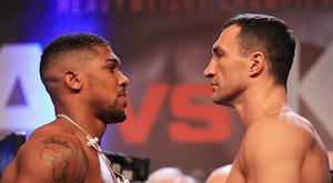 Anthony Joshua and Wladimir Klitschko face each other during the weigh-in prior to the Heavyweight Championship contest at Wembley Arena on April 28, 2017 in London, England. Anthony Joshua and Wladimir Klitschko are due to fight for the IBF, IBO and WBA Super Heavyweight Championships of the World on April 29. (Photo by Richard Heathcote/Getty Images)