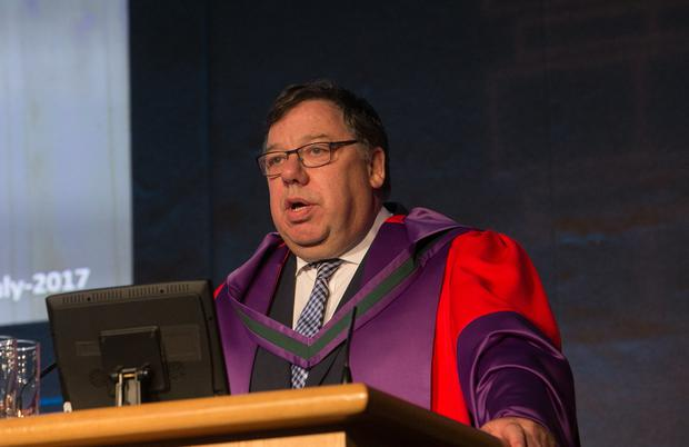 Former Taoiseach Brian Cowen TD during a Conferring of Honorary Degree by the National University of Ireland to Brian Cowen in Dublin Castle, Dublin. Photo: Gareth Chaney Collins