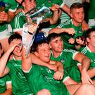 Limerick captain Tom Morrissey lifts the cup along with team-mates after the Bord Gáis Energy Munster GAA Hurling Under 21 Championship Final match between Limerick and Cork at the Gaelic Grounds in Limerick. Photo by Diarmuid Greene/Sportsfile