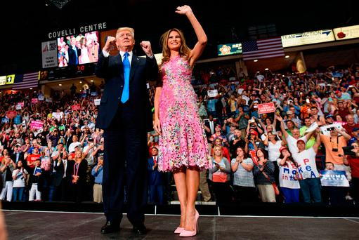 US President Donald Trump with first lady Melania Trump at a rally in Youngstown, Ohio. Photo: GETTY