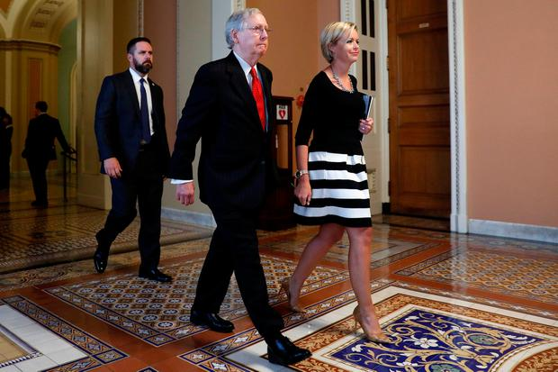 Senate Majority Leader Mitch McConnell leaves the Senate floor following a healthcare vote on Capitol Hill in Washington. Photo: REUTERS/Aaron P. Bernstein