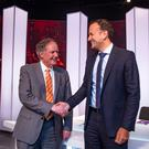 Taoiseach Leo Varadkar with Vincent Browne on his final show on TV3. Picture: Arthur Carron