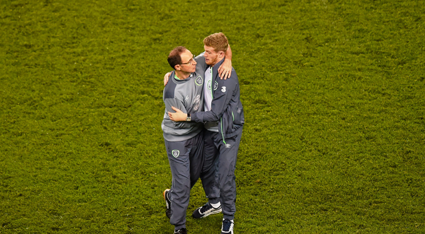 8 October 2015; Republic of Ireland manager Martin O'Neill and James McClean following their victory. UEFA EURO 2016 Championship Qualifier, Group D, Republic of Ireland v Germany. Aviva Stadium, Lansdowne Road, Dublin. Picture credit: Stephen McCarthy / SPORTSFILE