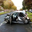 Car involved in crash on Malahide Road. Picture: Dublin Fire Brigade