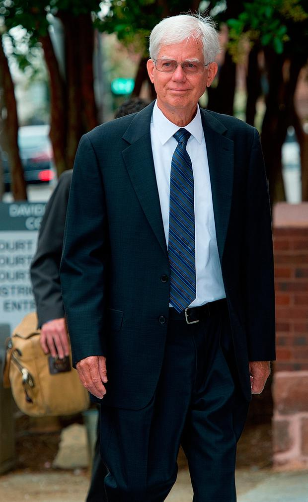 Thomas Martens walks to the Davidson County Courthouse on Thursday morning. [Donnie Roberts/The Dispatch]