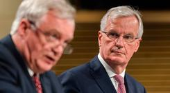 The EU chief Brexit negotiator Michel Barnier, right, pictured addressing the media after a week of negotiations at the EU headquarters in Brussels. Photo: AP