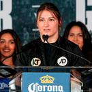 Katie Taylor during a press conference at the Dream Hotel Downtown in New York, USA. Photo: Ed Diller/DiBella Entertainment/ Sportsfile