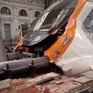 A commuter train is seen crashed into a railway buffer in Barcelona's Francia station, Spain July 28, 2017 in this still image from a video obtained from social media. Courtesy of Felix Rios /via REUTERS