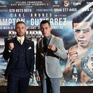 Carl Frampton (L), Northern Ireland and Andres Gutierrez (R), Mexico pose for photographers during their final pre fight press conference at Europa Hotel on July 27, 2017 in Belfast, Northern Ireland. (Photo by Charles McQuillan/Getty Images)