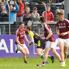 Johnny Heaney of Galway celebrates after scoring his sides third goal in the first half during the GAA Football All-Ireland Senior Championship Round 4A match between Galway and Donegal at Markievicz Park in Co. Sligo. Photo by Oliver McVeigh/Sportsfile
