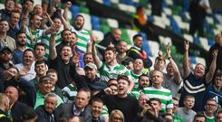 Celtic supporters during the UEFA Champions League Second Qualifying Round First Leg match between Linfield and Glasgow Celtic at the National Football Stadium in Windsor Park, Belfast. (Photo By David Fitzgerald/Sportsfile via Getty Images)