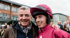 Owner Michael O'Leary, left, and jocker Bryan Cooper after winning the Ryanair Gold Cup Novice Steeplechase with Road To Respect during the Fairyhouse Easter Festival at Fairyhouse Racecourse in Ratoath, Co Meath. Photo by Seb Daly/Sportsfile