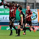 Ismahil Akinade celebrates with his team-mates after scoring Bohemians' first goal. Photo by David Maher/Sportsfile
