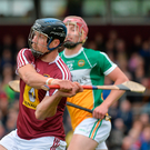27 May 2017; Paul Greville of Westmeath clears ahead of Peter Geraghty of Offaly during the Leinster GAA Hurling Senior Championship Quarter-Final match between Westmeath and Offaly at TEG Cusack Park in Mullingar, Co Westmeath. Photo by Piaras Ó Mídheach/Sportsfile