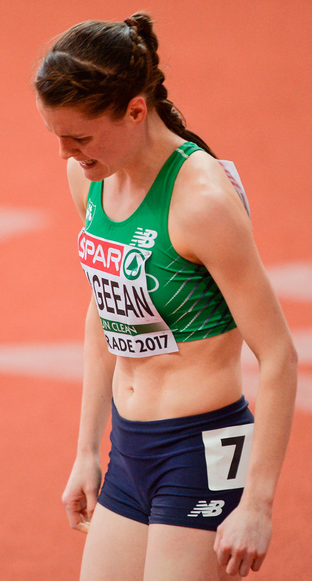Mageean pulling out of the 1500m in Belgrade in March. Photo: Sportsfile
