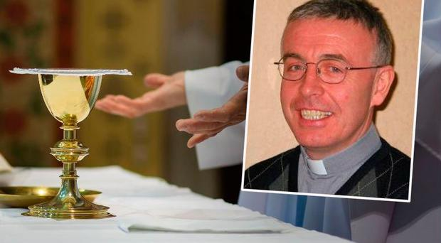 Father Tim Hazelwood (inset) was falsely accused of sex abuse