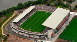 An aerial view of Páirc Ui Chaoimh as the Wexford and Waterford teams gather in their respective huddles prior to the GAA Hurling All-Ireland Senior Championship Quarter-Final last weekend