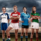 From left to right: LGFA players Sharon Courtney, Monaghan; Briege Corkery, Cork; Sinéad Goldrick, Dublin; Sarah Rowe, Mayo. Photo: Liam Murphy