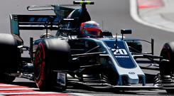 Haas driver Kevin Magnussen of Denmark steers his car during the third free practice session. Image: AP Photo/Darko Bandic