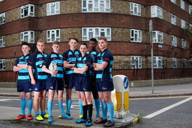 The Liberty Saints rugby club in Dublin. From left, Rhys Donohoe, Dylan Kavanagh, Josh Martin, Michael Imure, Jack Condon, Andy Ciobann and Ryan Campbell. Photo: Julien Behal Photography