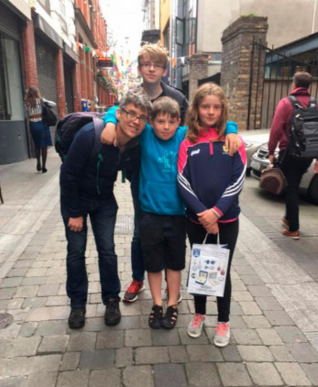 Michael with his children in Temple Bar the day before they were due to fly to Munich