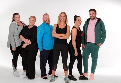 Celebrity Operation Transformation contestants, from left, Kayleigh Cullinan, Mary Byrne, Gary O'Hanlon, host Kathryn Thomas, Triona McCarthy and James Patrice