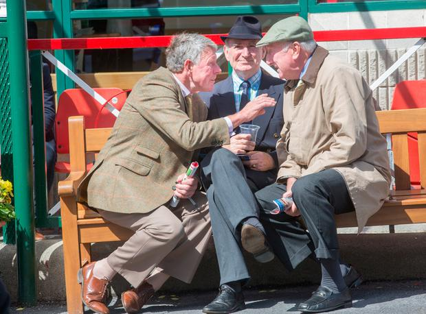 Michael McInerney, Newmarket-on-Fergus; Des Hartigan, Croom; and John Hynes, Limerick, discuss the favourites at The Galway Races. Photo: Tony Gavin