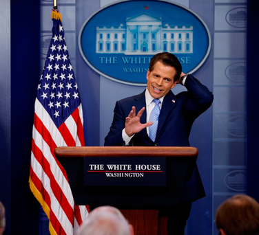 Former White House communications director Anthony Scaramucci speaks at the White House podium last week. Photo: Reuters/Jonathan Ernst