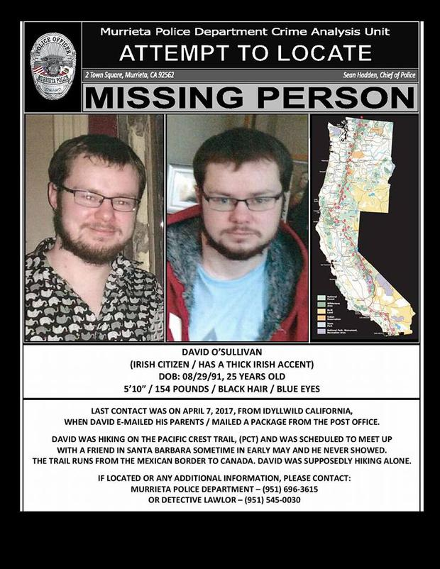 Murrieta Police Department is leading the search for missing Irishman David O'Sullivan