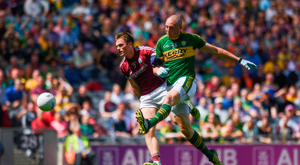 30 July 2017; Kieran Donaghy of Kerry shoots to score his side's first goal of the game during the GAA Football All-Ireland Senior Championship Quarter-Final match between Kerry and Galway at Croke Park in Dublin. Photo by Ramsey Cardy/Sportsfile