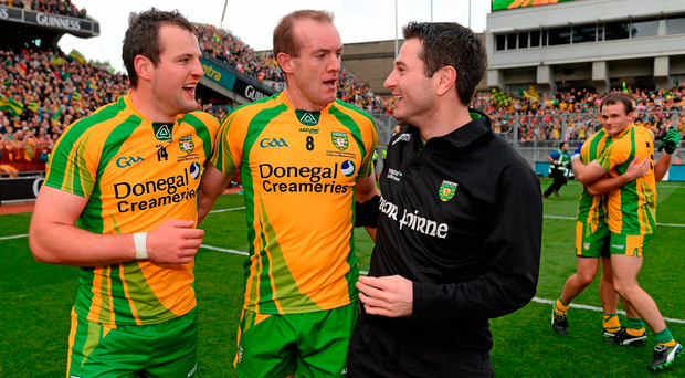 Former manager and then selector Rory Gallagher celebrates Donegal's 2012 SFC victory with Michael Murphy and Neil Gallagher. Photo: Sportsfile