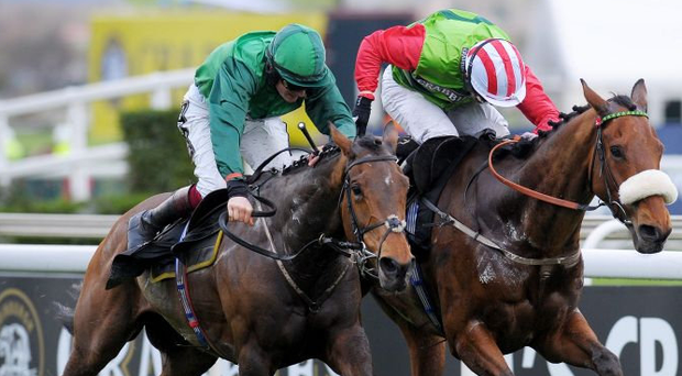 Ballybolley (left), here being ridden to victory by Sam Twiston-Davies at the Aintree Festival in 2014, can capture the Galway Plate for the raiding party. Photo: PA
