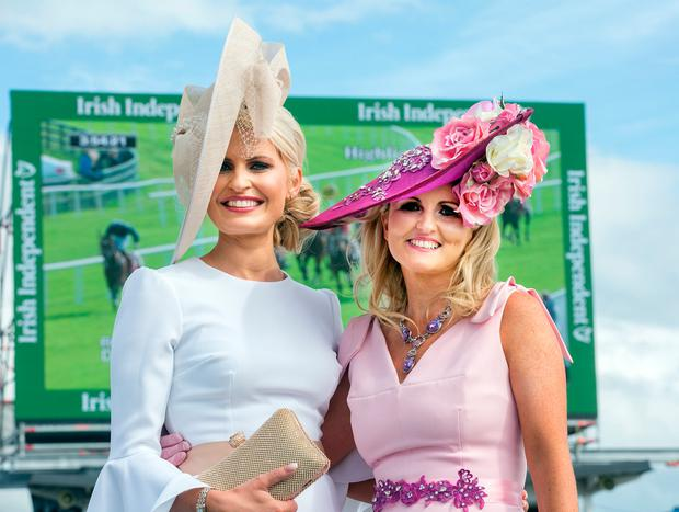 Corinna Hynes from Sligo and Tracey McGuinness from Donegal at the Galway Races. Photo: Tony Gavin