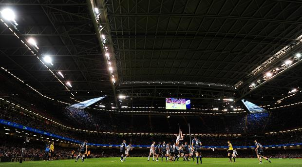 General view of play during the Guinness Pro12 match between Cardiff Blues and Ospreys at the Principality Stadium in Cardiff, Wales. Photo: Harry Trump/Getty Images