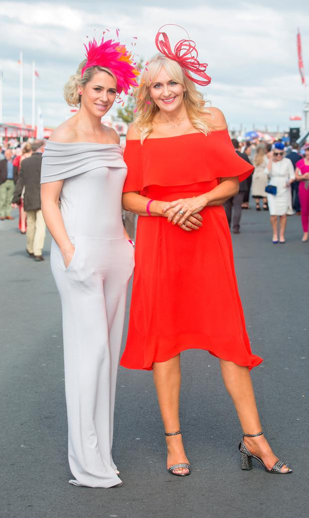 Evanne Ní Chuilinn and Miriam O'Callaghan at the Galway Races. Picture: Tony Gavin