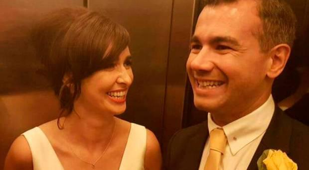 Academic and TV presenter Aoibhinn Ní Shúilleabháin pictured with her new husband after their wedding last weekend