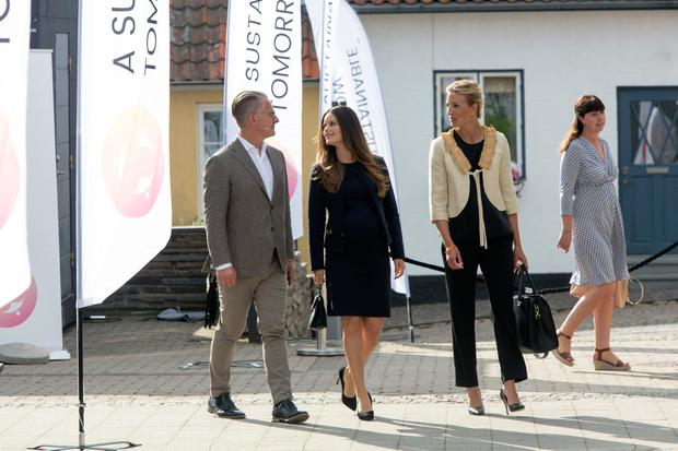 Princess Sofia of Sweden (C) together with Bo Nielsson and Susanne Johansson arrive to the Granslosa Moten's Sustainability and future seminar, 'A Sustainable Tomorrow' on August 2, 2017 in Bastad, Sweden. (Photo by Ole Jensen/Getty Images)
