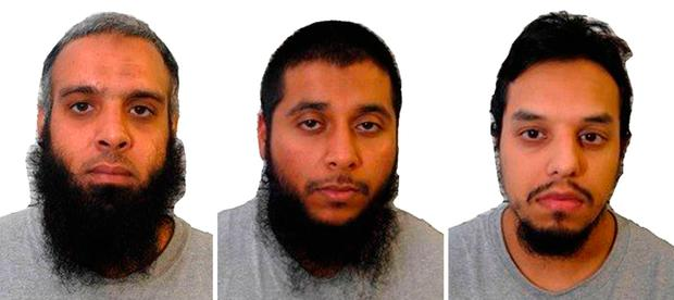 (Left to right) Naweed Ali, Khobaib Hussain and Mohibur Rahman. Photo: West-Midlands Police/PA Wire