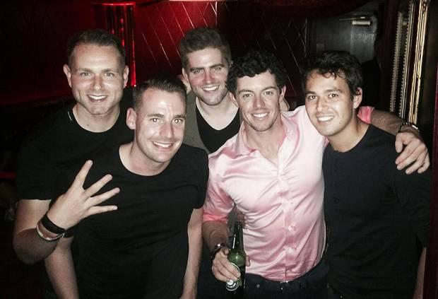 Rory McIlroy and Harry Diamond (R) on a night out when he came home to celebrate his US PGA victory..