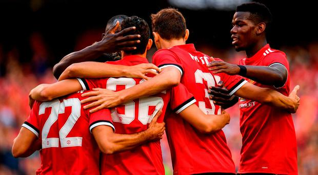 Manchester players celebrate after scoring their first goal of the game during the International Champions Cup match between Manchester United and Sampdoria at the Aviva Stadium in Dublin. Photo by Sam Barnes/Sportsfile