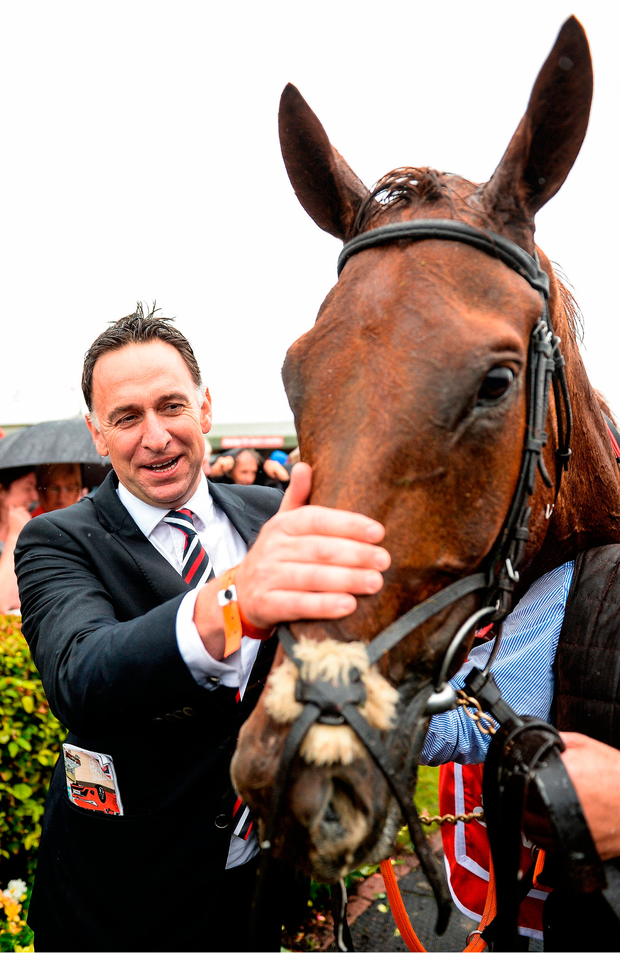 A delighted Henry de Bromhead with Balko Des Flos. Photo by Cody Glenn/Sportsfile